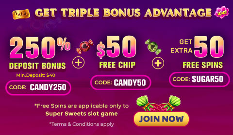 Exclusive Super Sweets Slot Game Bonus with 50 Freechip and 50 Free Spins from Slots 7 Casino